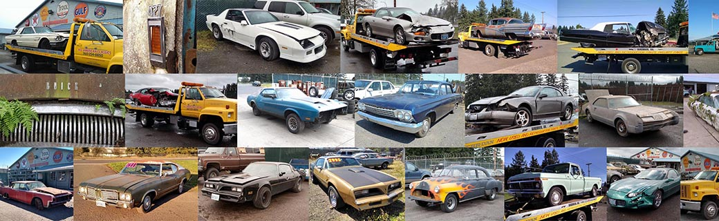 Collage of cars being parted out at All American Classics