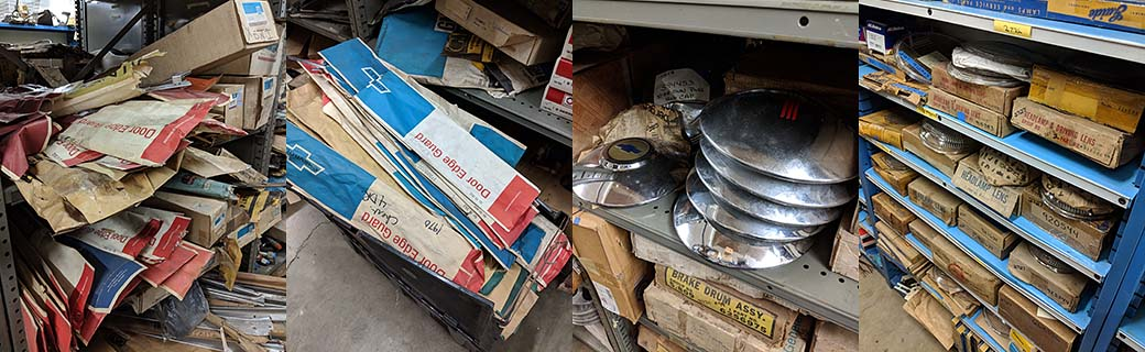 NOS (New Old Stock) parts inventoried on the shelves at All American Classics