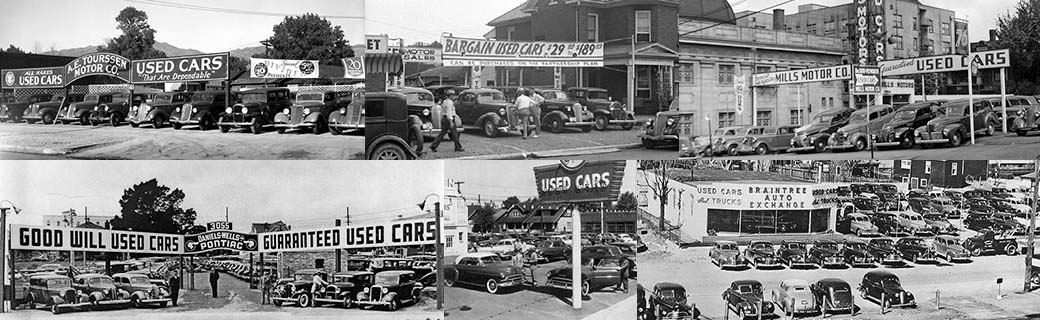 Collage of vintage used car lots